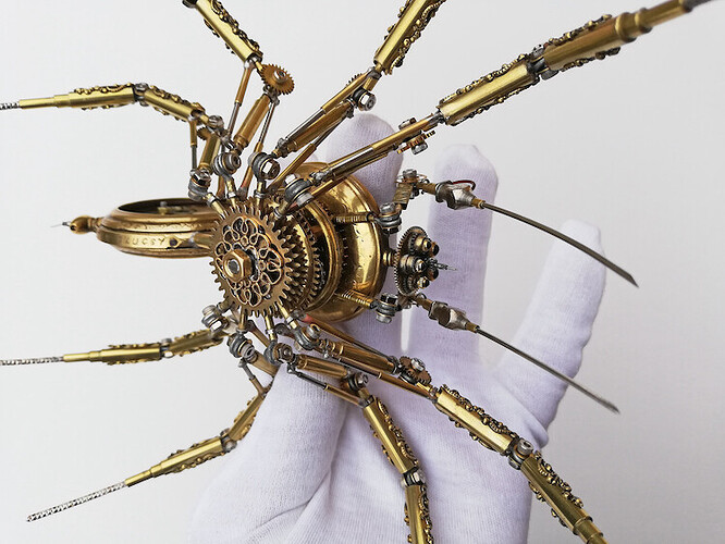 Steampunk Spider Made From Antique Watches by Peter Szucsy